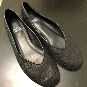 Eileen Fisher 'Patch' Perforated Leather Flat